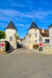 Porte Noel gate, in Chablis. View of the Porte Noel gate, in Chablis, Burgundy, France royalty free stock photo