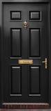 Porte noire classique d'isolement Photographie stock libre de droits