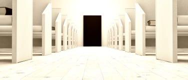 Porte noire dans la petite église blanche illustration de vecteur