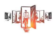 Porte, occasion, le travail, affaires, concept de carrière Vecteur d'isolement tiré par la main illustration stock