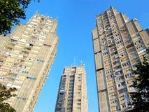 Porte orientale de Belgrade Un groupe de trois gratte-ciel identiques image libre de droits