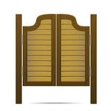 Porte ou porte en bois de Brown dans la salle, la barre ou le bar Vecteur Images libres de droits