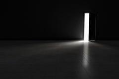 Porte ouverte à la chambre noire avec briller léger lumineux dedans Fond illustration stock