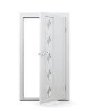 Porte ouverte avec des insertions en verre d'isolement sur le fond blanc 3d au sujet de Photographie stock libre de droits
