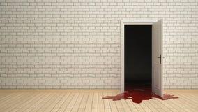 Porte ouverte avec le sang s'épuisant photographie stock libre de droits