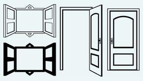 Porte ouverte et fenêtre Image stock