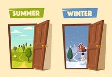 Porte ouverte L'hiver et été Illustration de vecteur de dessin animé illustration libre de droits