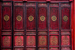 Porte rouge de chinois traditionnel Images stock