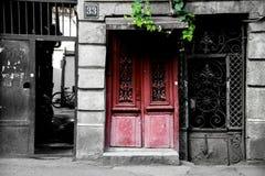 Porte rouge de la nouvelle vie photographie stock libre de droits