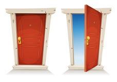 Porte rouge ouverte et fermée illustration stock
