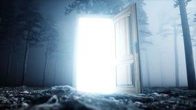 Porte rougeoyante dans le portail de lumière de forêt de nuit de brouillard Mistic et concept magique rendu 3d illustration libre de droits