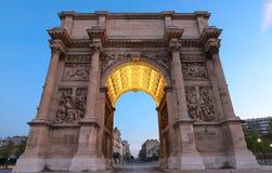Porte Royale - triomfantelijke boog in Marseille, France Geconstrueerd in 1784 - 1839 stock fotografie
