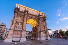 Porte Royale - triumphal arch in Marseille, France. Constructed in 1784 - 1839. Inscription on arch in French: To the Republic . Grateful Marseille stock photos
