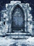 Porte ruinée avec la neige Images stock