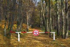 Porte sur la route au bois Photographie stock
