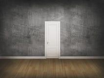Porte sur le mur de concrtete avec le plancher en bois Image stock