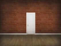 Porte sur le mur en béton avec le plancher en bois Photographie stock libre de droits