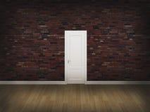 Porte sur le mur en béton avec le plancher en bois Photo stock