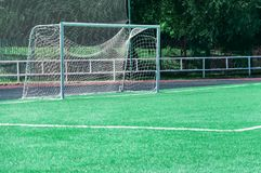 Porte sur un terrain de football Photographie stock