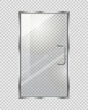 Porte transparente sur Grey Checkered Background Images libres de droits