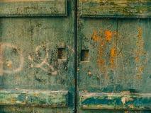 Porte verdi Struttura di legno Vecchia pittura misera e irradiata Fotografia Stock