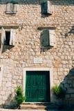 Porte verdi Struttura di legno Vecchia pittura misera e irradiata Immagini Stock Libere da Diritti
