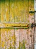 Porte verdi Struttura di legno Vecchia pittura misera e irradiata Immagine Stock Libera da Diritti