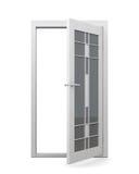 Porte vitrée d'isolement sur le fond blanc rendu 3d Images libres de droits