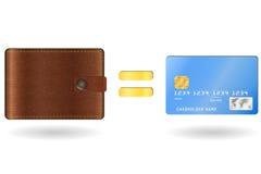 Portefeuille égal à une carte de crédit Photo stock
