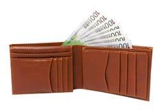 Portefeuille avec 100 euro billets de banque d'isolement Photographie stock libre de droits