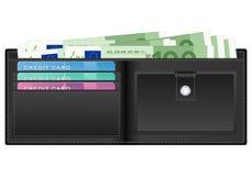 Portefeuille avec cents billets de banque d'euro Images stock