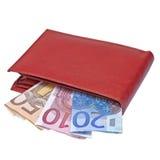 Portefeuille avec d'euro notes Images stock