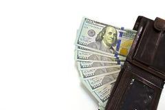 Portefeuille avec des dollars sur le fond blanc Photographie stock