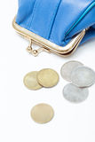 Portefeuille avec des pièces de monnaie Photo stock