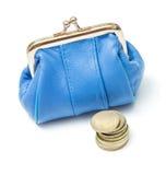 Portefeuille avec des pièces de monnaie Image stock