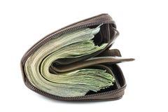 Portefeuille avec l'argent de BAHT THAÏLANDAIS sur le fond blanc Photographie stock