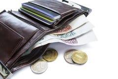 Portefeuille avec l'argent liquide Photographie stock libre de droits