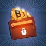 Portefeuille avec l'argent moderne de Web de devise d'or de Bitcoin Digital au-dessus du fond de circuit Photographie stock libre de droits