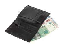Portefeuille avec l'argent norvégien photographie stock libre de droits