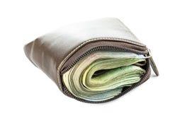 Portefeuille avec l'argent sur le fond blanc Image libre de droits