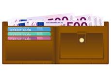 Portefeuille avec le billet de banque de l'euro cinq cents Images stock