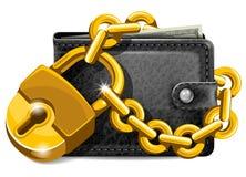 Portefeuille avec le cadenas Photos libres de droits