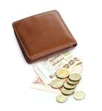 Portefeuille, billet de banque thaïlandais et pièce de monnaie Image libre de droits