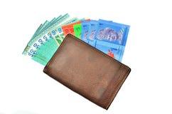 Portefeuille d'argent liquide d'argent Photo stock