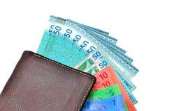 Portefeuille d'argent liquide d'argent Images stock