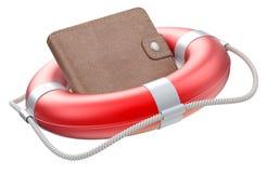 Portefeuille dans le lifebuoy Photo stock
