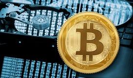 Portefeuille de Bitcoin, exploitation ou illustration du concept 3d de transfert Photographie stock libre de droits