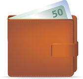 Portefeuille en contant geld Royalty-vrije Stock Afbeelding