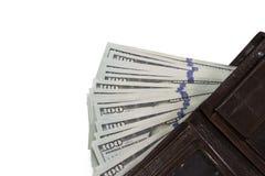 Portefeuille en cuir avec des dollars sur le fond blanc Photographie stock