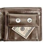 Portefeuille en cuir avec le dollar d'isolement sur le blanc Photos stock